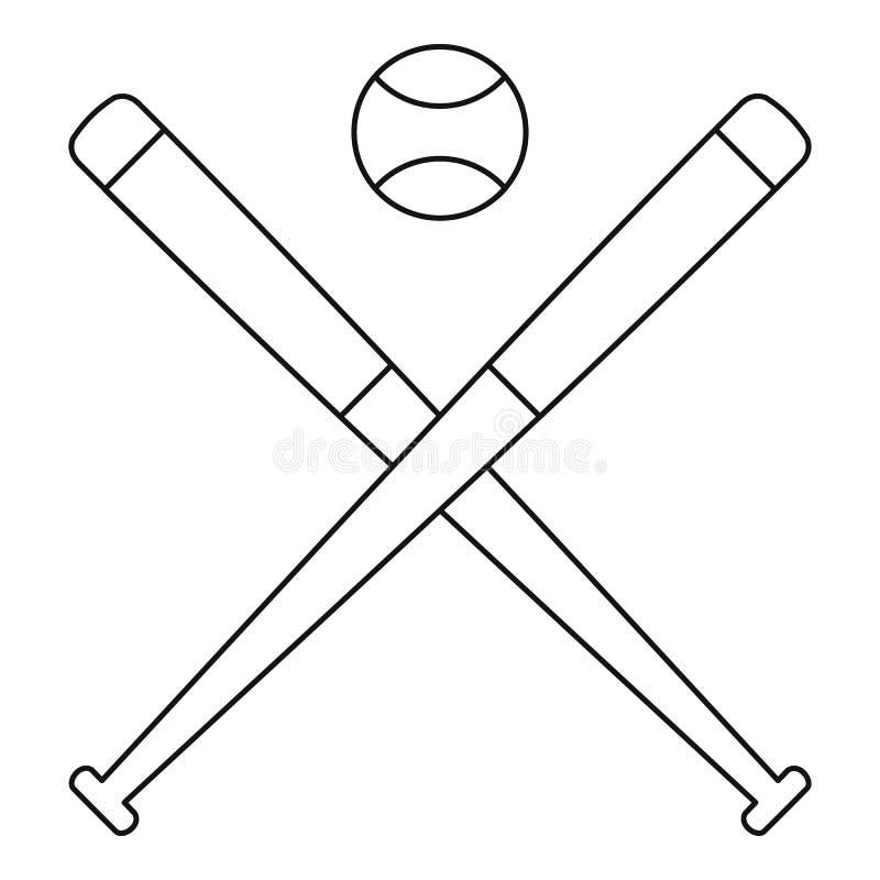 Bola do basebol com ícone dos bastões, estilo do esboço ilustração do vetor