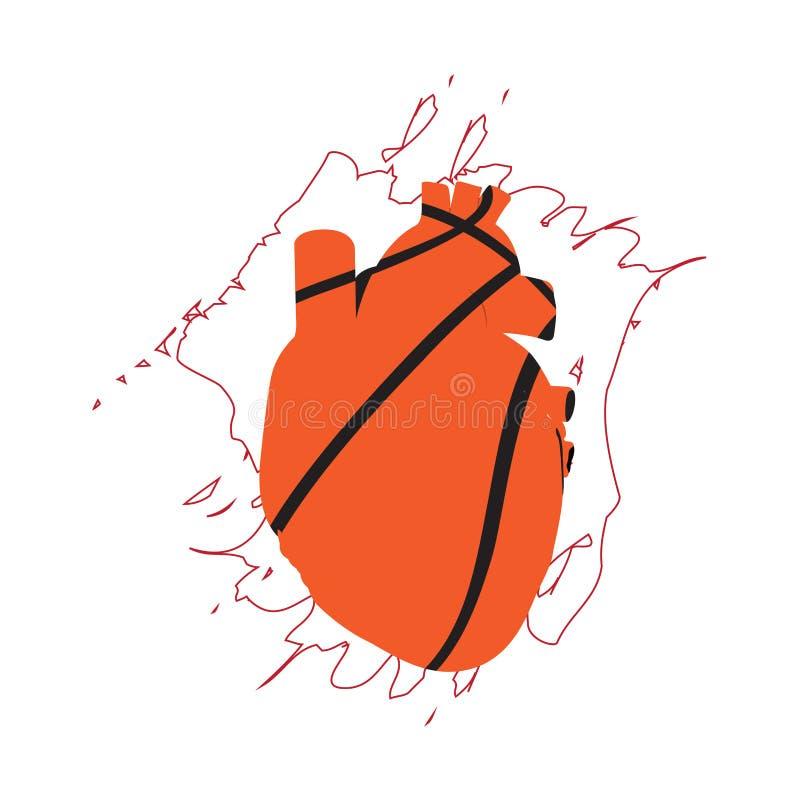 Bola do basquetebol com uma forma humana do coração ilustração royalty free