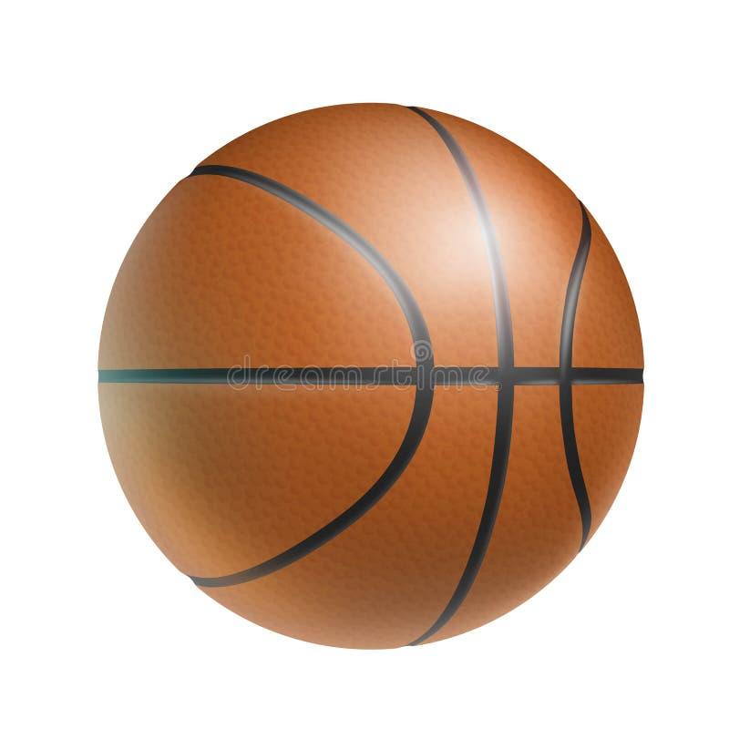Bola do basquetebol de Brown, realístico, isolada ilustração stock