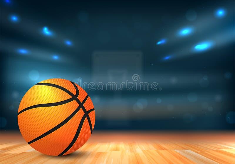 Bola do basquetebol na arena de esporte com tribunas e luzes ilustração do vetor