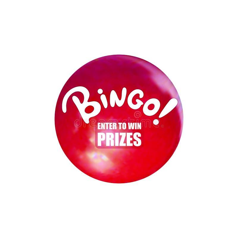 A bola do Bingo do vetor, a bola da loteria de Relistic e a palavra dos desenhos animados, entram para ganhar prêmios para abotoa ilustração royalty free