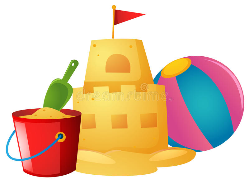 Bola do castelo de areia e de praia ilustração stock