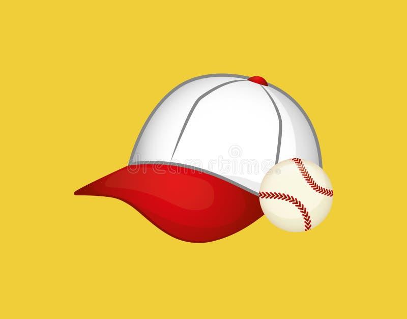Bola do chapéu de basebol ilustração royalty free