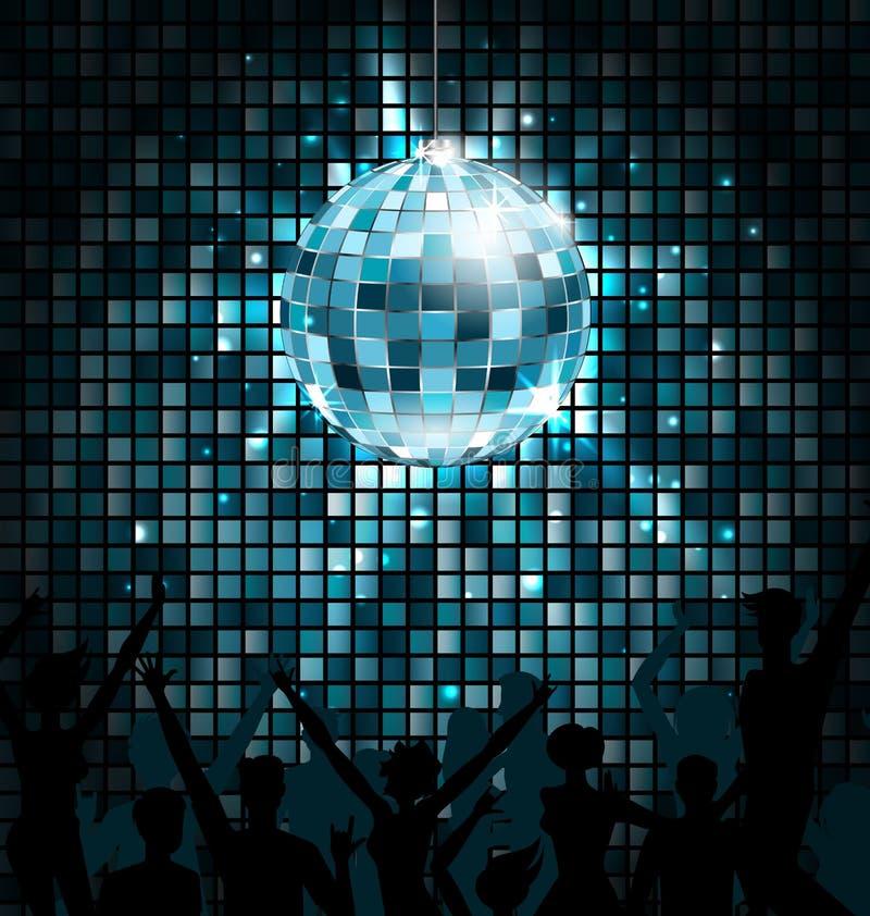 Bola do disco com as silhuetas da dança dos povos Fundo de incandescência das luzes do partido ilustração stock