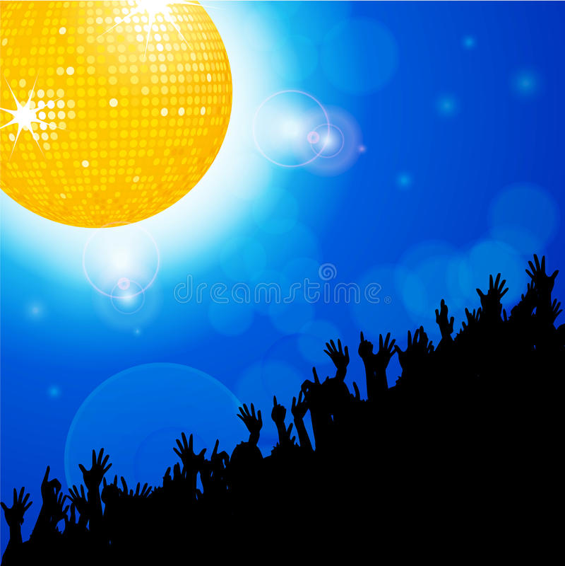 Bola do disco com a multidão sobre o fundo de incandescência azul ilustração do vetor