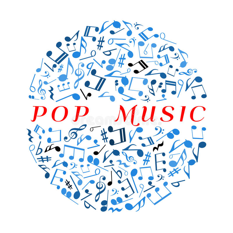 Bola do disco com símbolo musican das notas e das marcas ilustração do vetor
