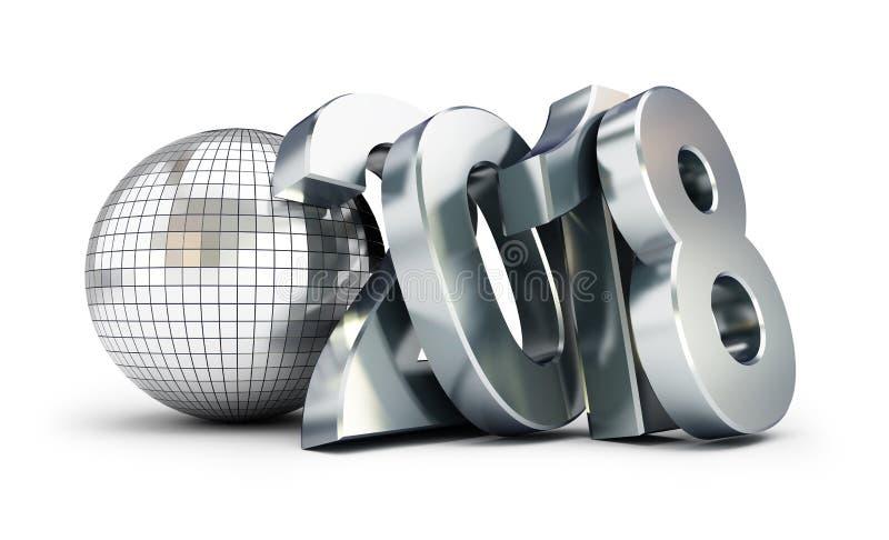 Bola 2018 do disco do ano novo no fundo branco ilustração stock