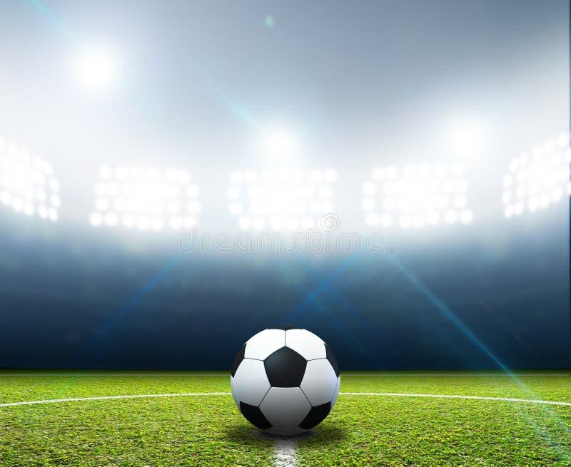 Bola do estádio e de futebol imagens de stock