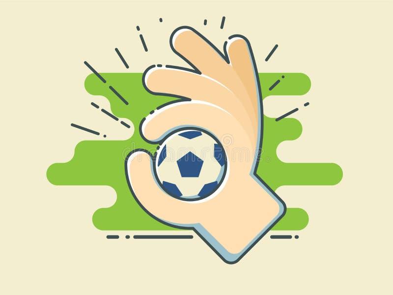 Bola do futebol/futebol à disposição no campo verde estilizado ilustração stock