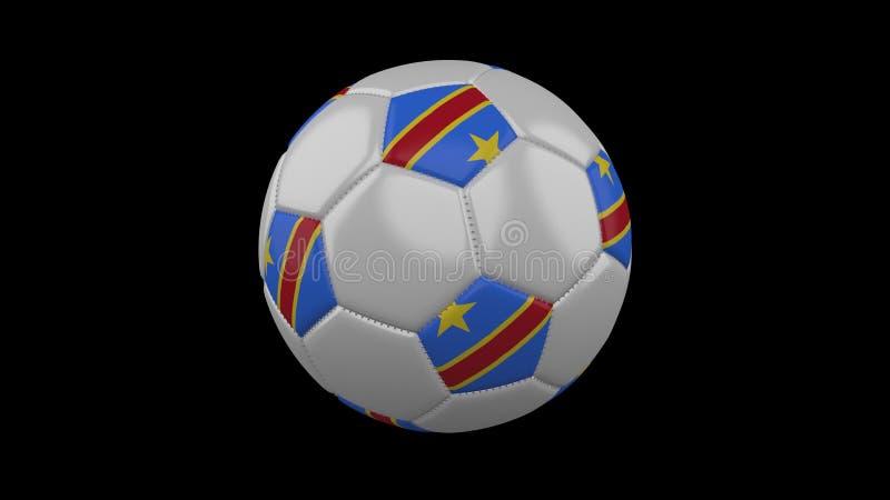 Bola do futebol com bandeira a República Democrática do Congo Democrática, rendição 3d ilustração royalty free