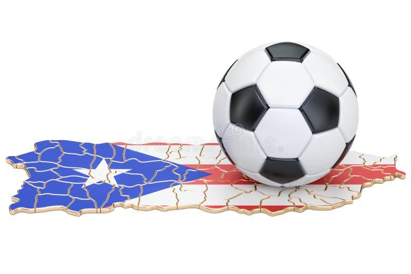 Bola do futebol com o mapa do conceito de Porto Rico, rendição 3D ilustração do vetor