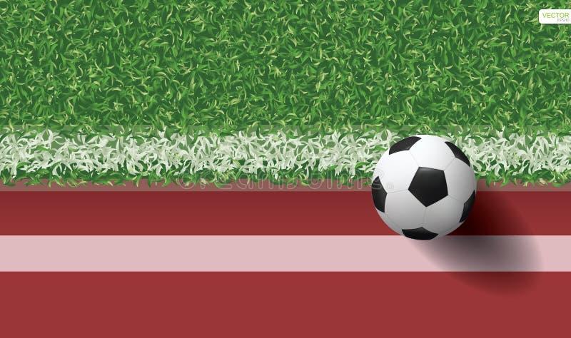 Bola do futebol do futebol na grama verde do campo de futebol com pista de atletismo ilustração stock