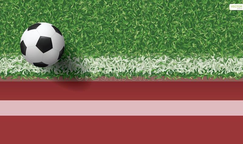 Bola do futebol do futebol na grama verde do campo de futebol com pista de atletismo ilustração royalty free