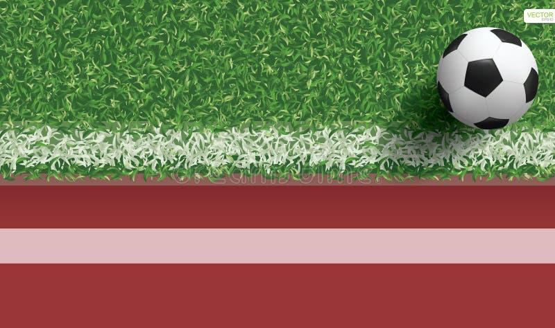 Bola do futebol do futebol na grama verde do campo de futebol com pista de atletismo ilustração do vetor