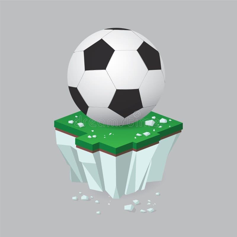 Bola do futebol/futebol no pedaço do campo ou da ilha verde rasgada do voo ilustração do vetor