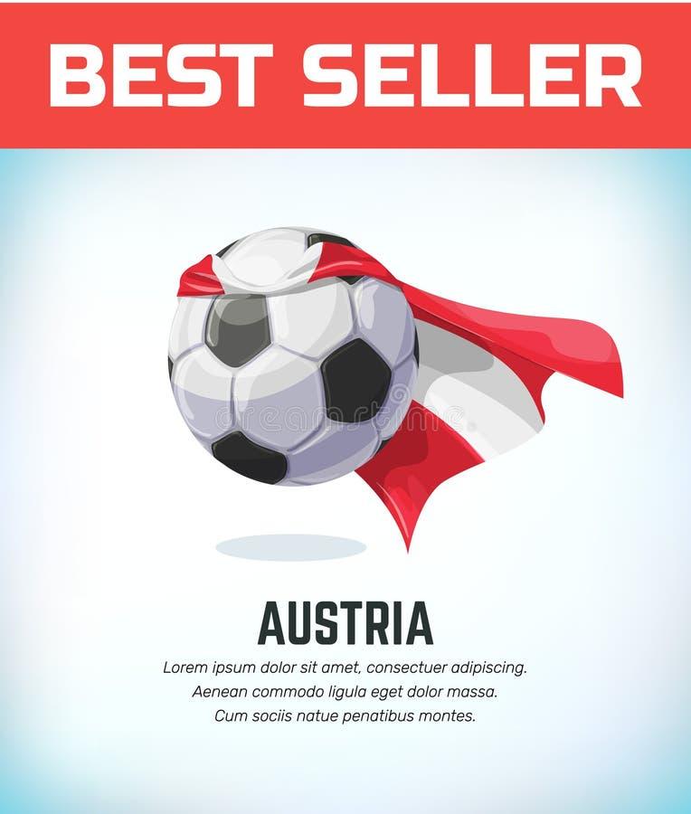 Bola do futebol ou de futebol de Áustria Equipe nacional do futebol Ilustração do vetor ilustração stock