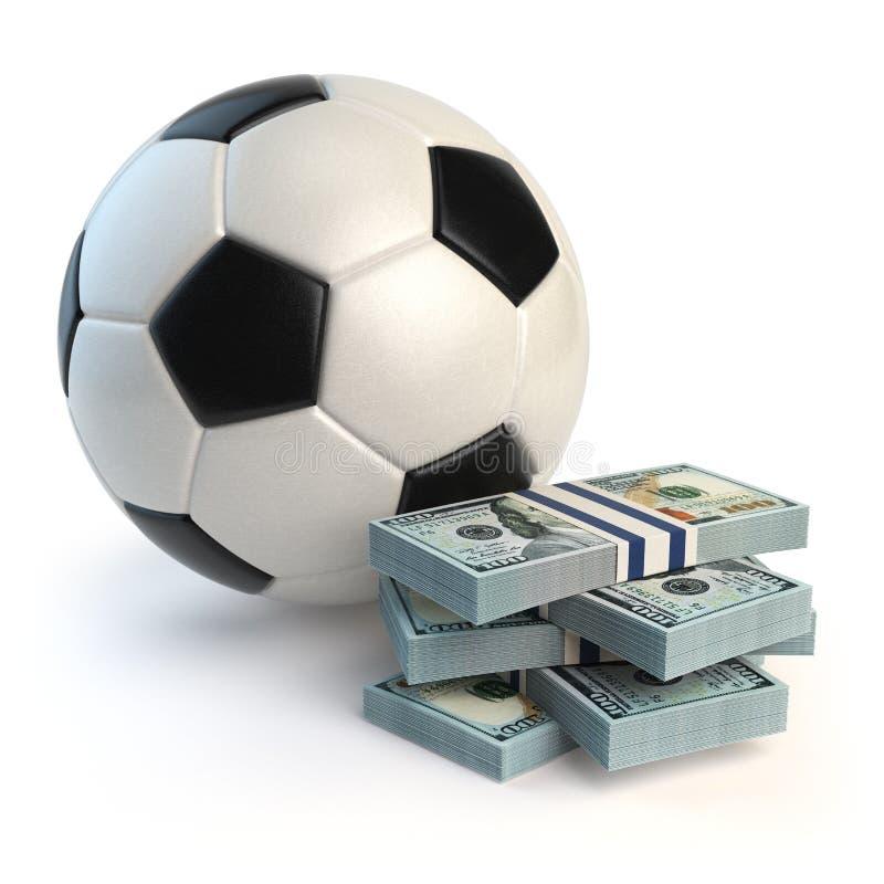 Bola do futebol ou do futebol e blocos dos dólares ilustração stock