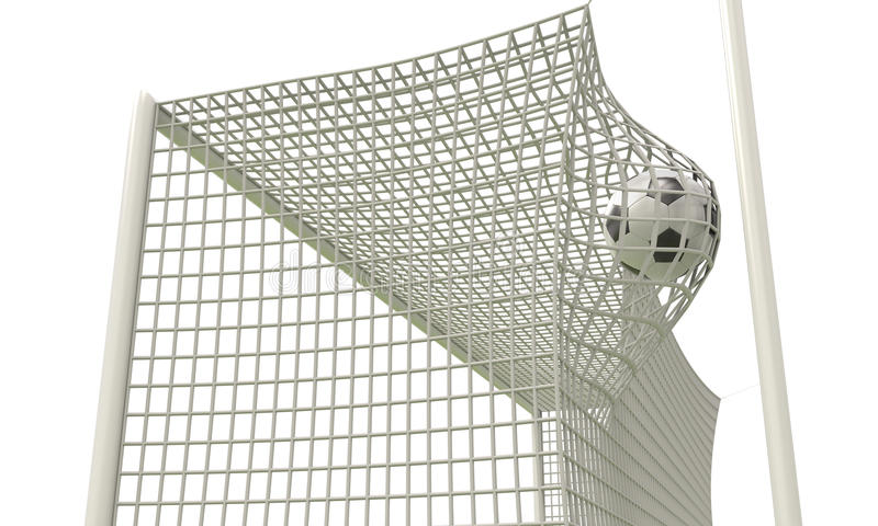 A bola do futebol voa no close-up líquido da porta ilustração do vetor