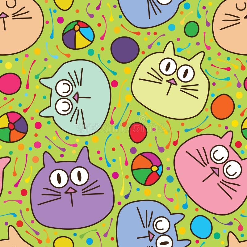 Bola do gato que rola o teste padrão sem emenda verde ilustração royalty free
