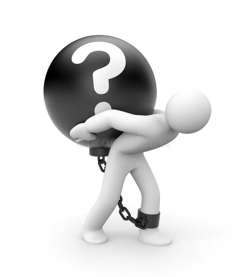 Bola do homem e de metal com pergunta ilustração stock