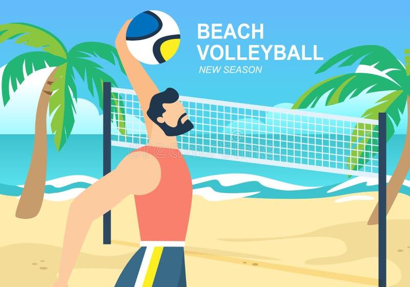 Bola do lance do desportista do voleibol de praia sobre a cesta ilustração royalty free