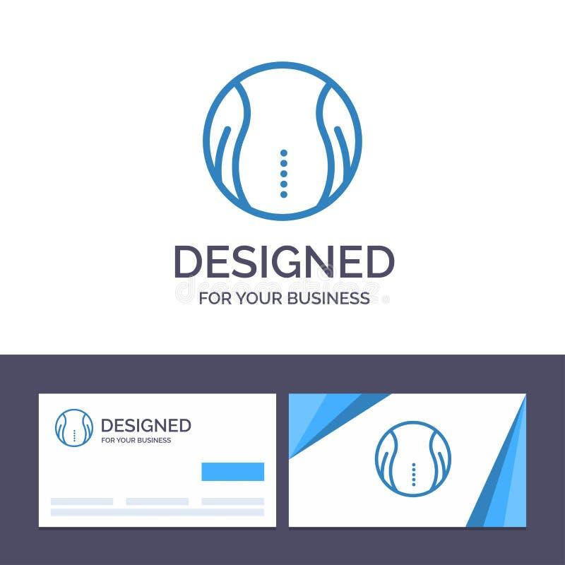 Bola do molde criativo do cartão e do logotipo, tênis, esporte, ilustração do vetor do jogo ilustração stock