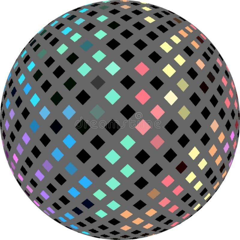 bola do mosaico 3d no fundo branco Cristais iridescentes azuis amarelos do rosa na textura cinzenta ilustração royalty free