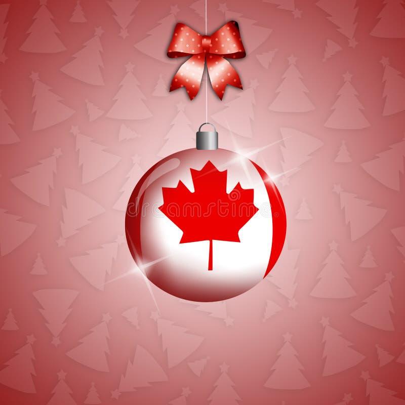 Bola do Natal com a bandeira de Canadá ilustração royalty free