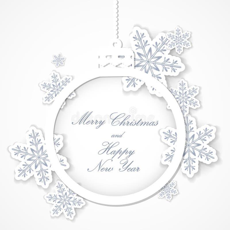 Bola do Natal cortada do papel com flocos de neve Cartão ou convite ilustração do vetor