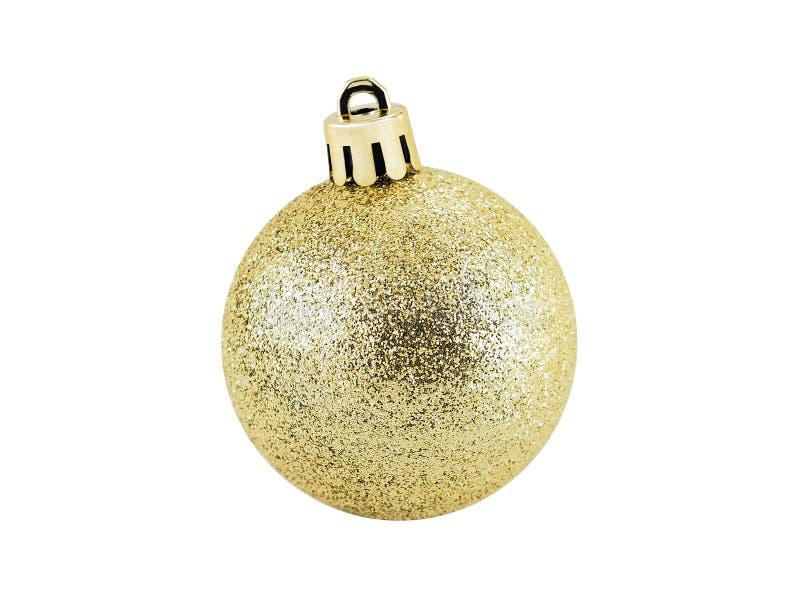 Bola do Natal do ouro amarelo do brilho isolada no fundo branco, para a decoração do festival do Natal imagens de stock royalty free
