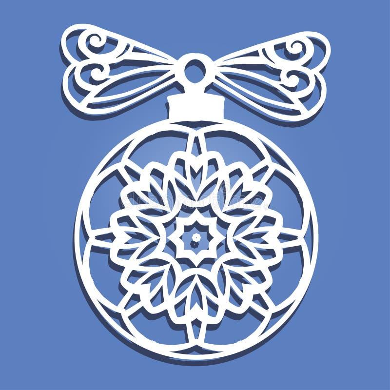 Bola do Natal do papel do corte do laser Decorações do Natal para a cinzeladura de madeira, corte de papel ilustração royalty free