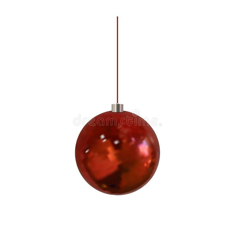 Bola do Natal do vetor, bola realística de suspensão isolada ilustração stock