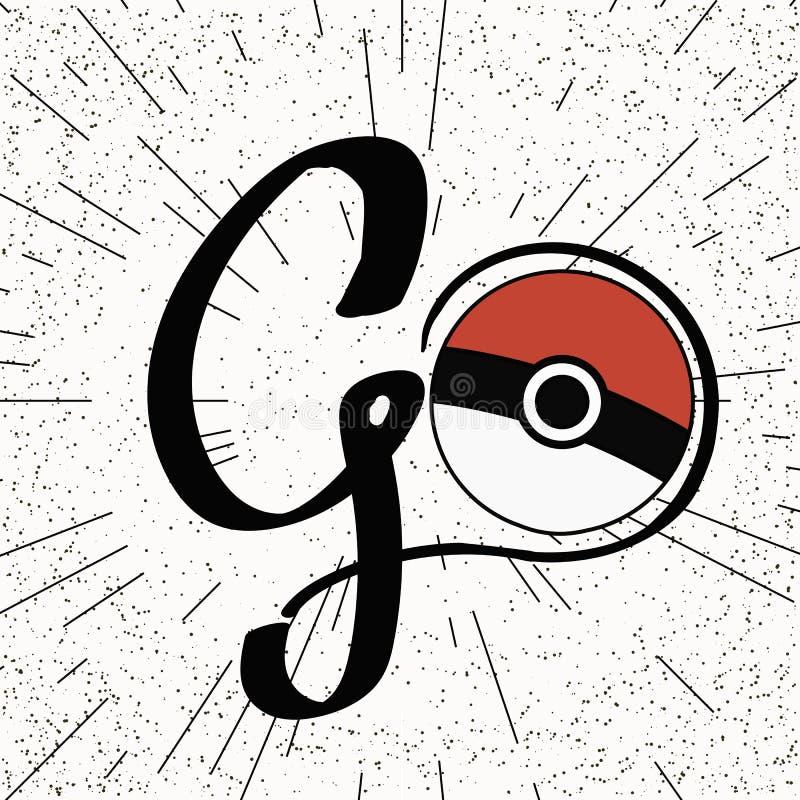 Bola do pokemon de Pokeball do vetor com o escrito à mão ilustração royalty free