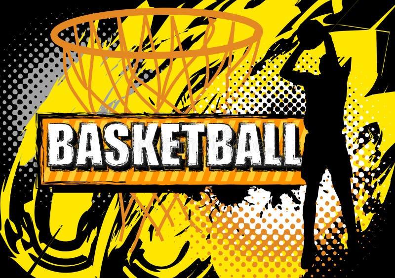 Bola do tiro do jogador de basquetebol no fundo do grunge ilustração do vetor