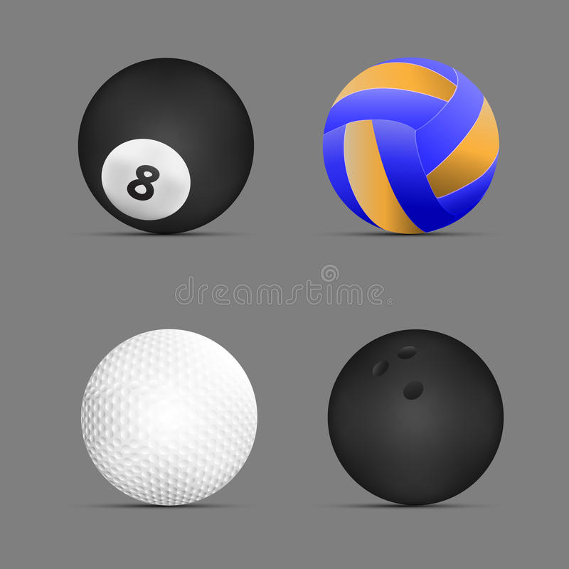 Bola do voleibol, bola de bilhar, bola de golfe, bola de boliches com fundo cinzento Jogo de esferas dos esportes Vetor Ilustraçã ilustração royalty free