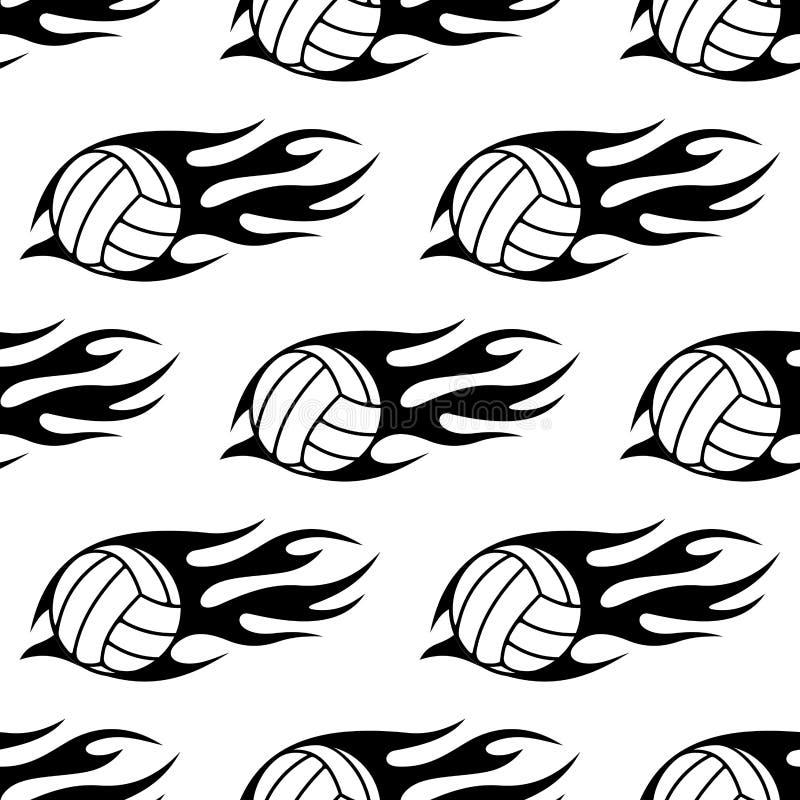 Bola do voleibol com as chamas tribais sem emenda ilustração royalty free