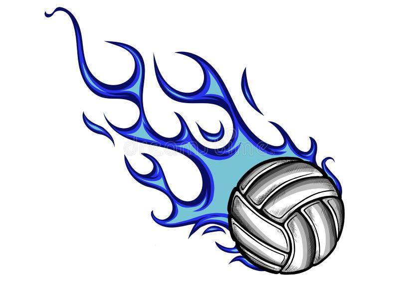 Bola do voleibol com chamas e fogo azul ilustração do vetor