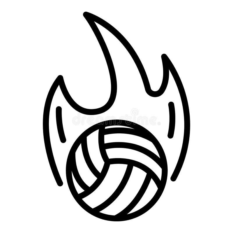 Bola do voleibol no ícone do fogo, estilo do esboço ilustração royalty free