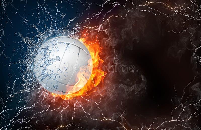 Bola do voleibol no fogo e na água ilustração stock