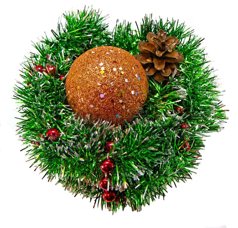 Bola dourada brilhante da colagem do Natal no ouropel do Natal fotografia de stock royalty free