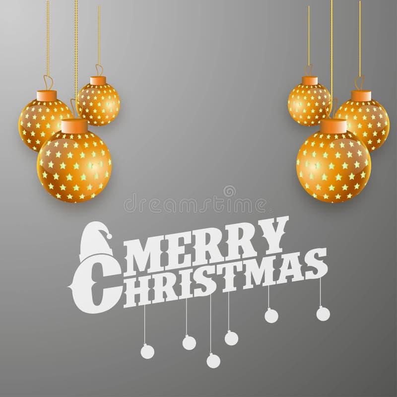 Bola dourada do Feliz Natal no fundo cinzento ilustração stock