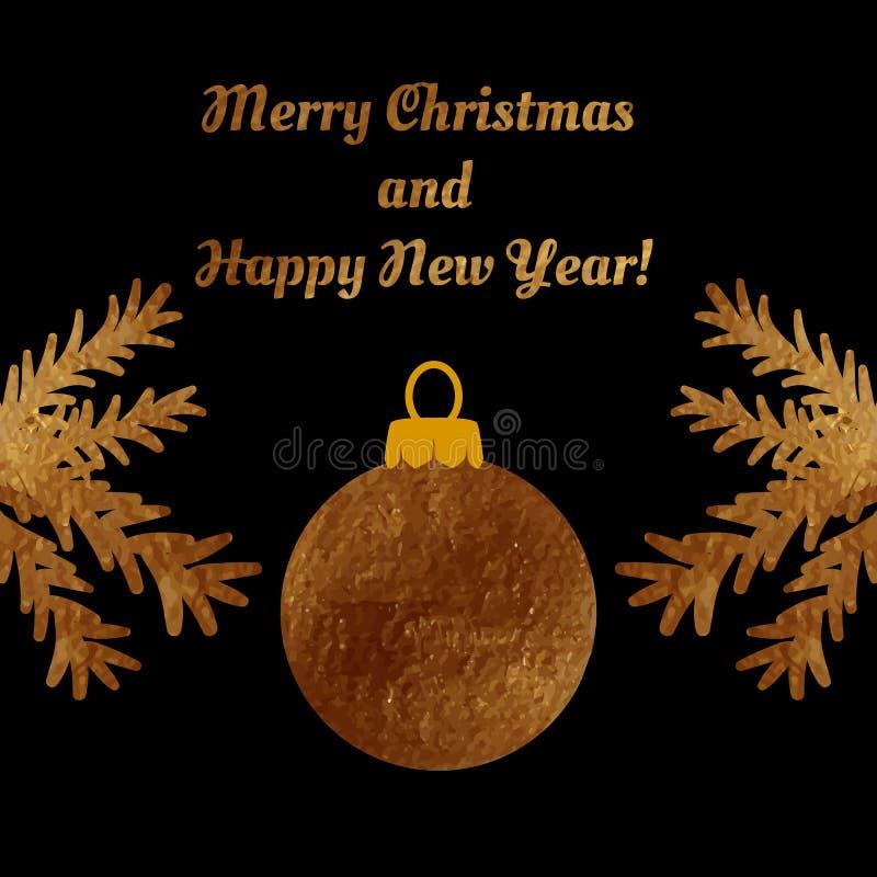 Bola dourada do Natal em um cartão ilustração royalty free