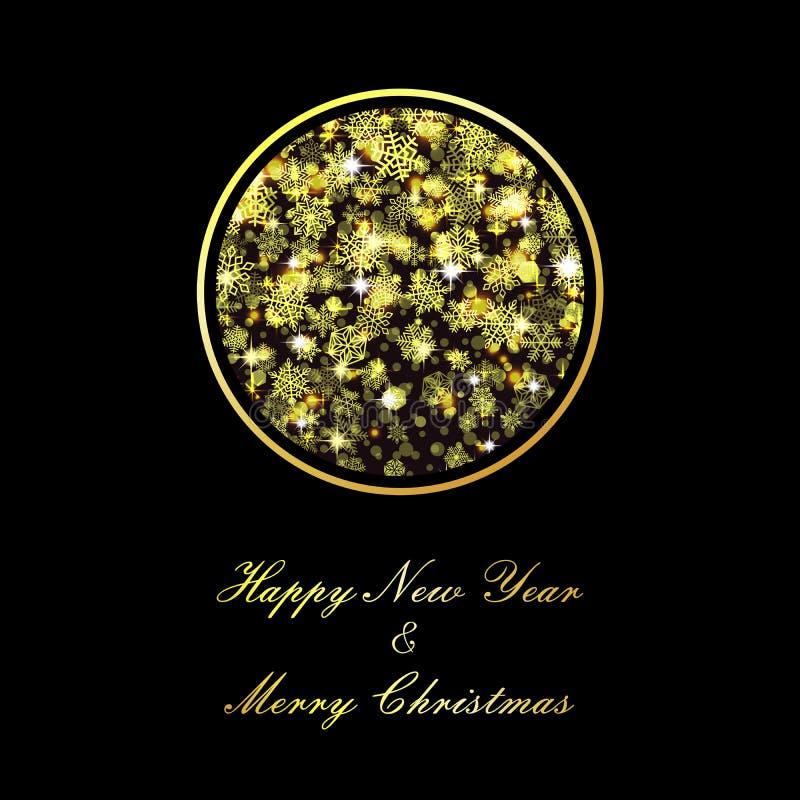 Bola dourada do Natal do vetor no fundo preto ilustração do vetor