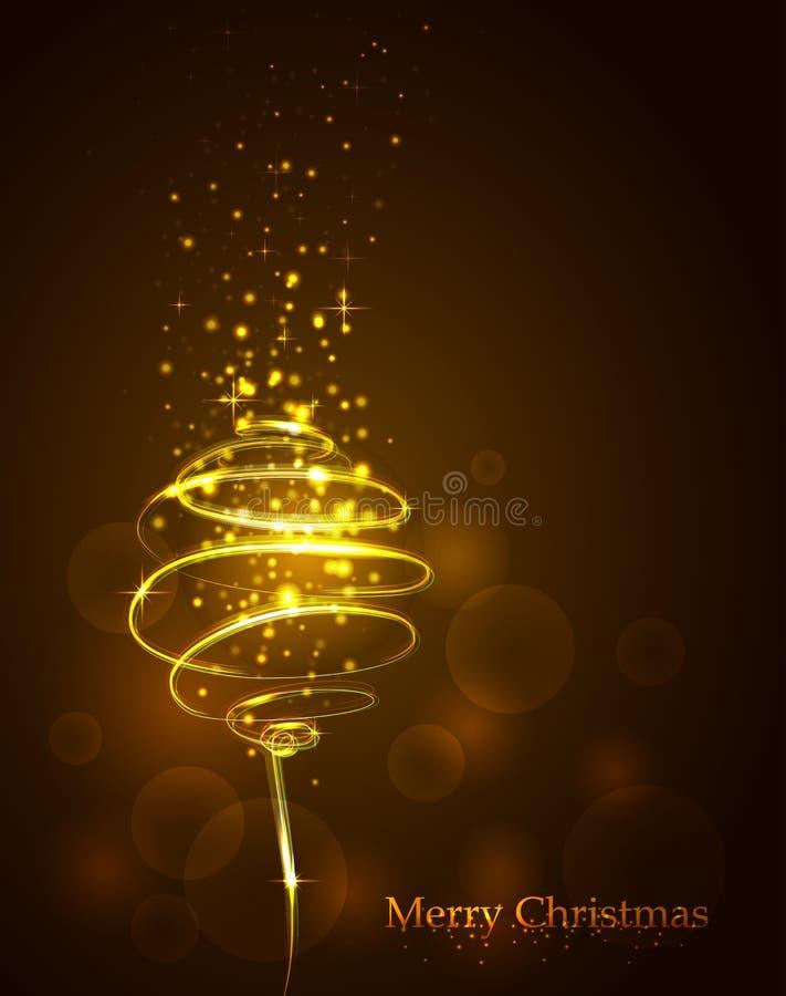 Bola dourada mágica Traço espiral de incandescência com poeira brilhada ilustração royalty free