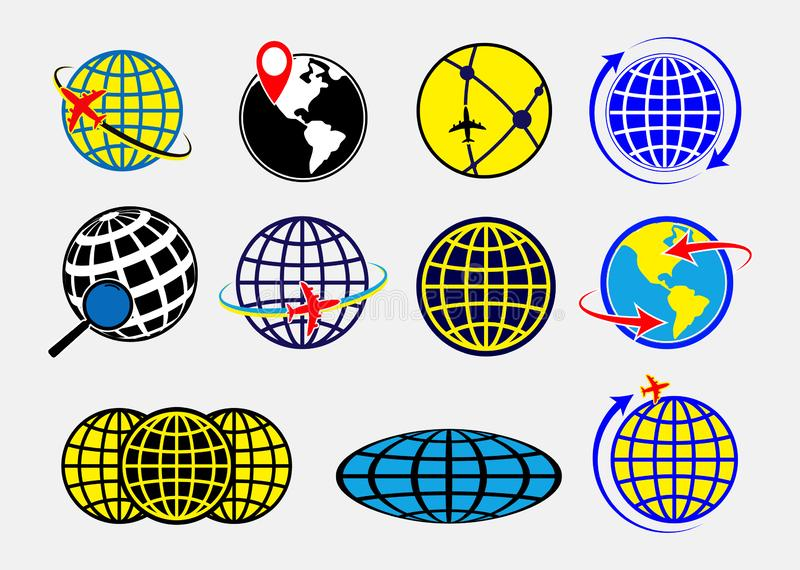 Set of world globe earth icon or globe geographic planet icon or airplane globe concepts. Easy to modify stock illustration