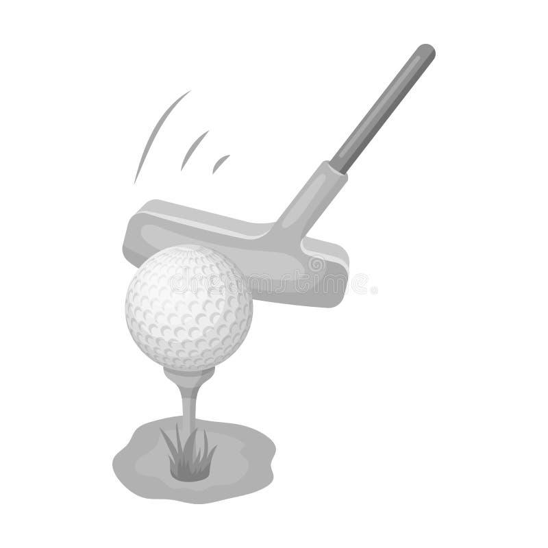 Bola e embocador para o golfe Ícone do clube de golfe único na Web monocromática da ilustração do estoque do símbolo do vetor do  ilustração royalty free