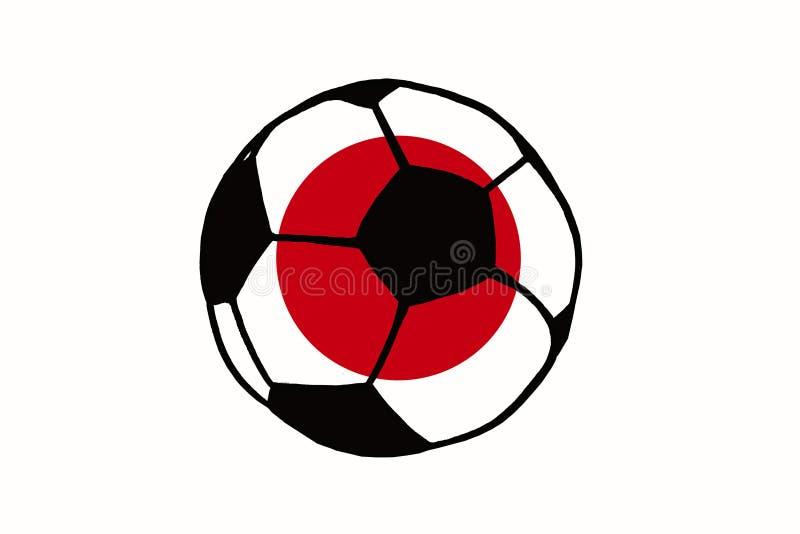 A bola e Japão do futebol embandeiram a ilustração simples tirada mão, soc ilustração stock