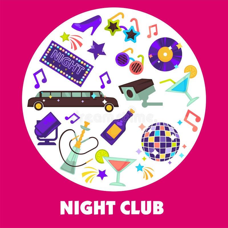 Bola e limusina do disco do clube noturno do partido de dança ilustração royalty free