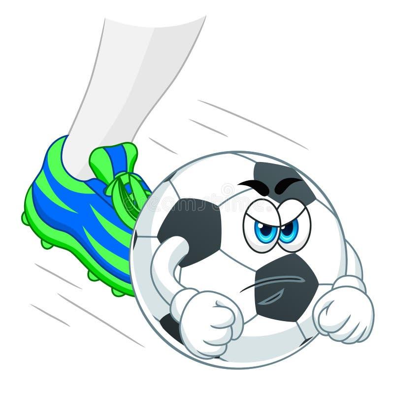 Bola e pé de futebol ilustração stock