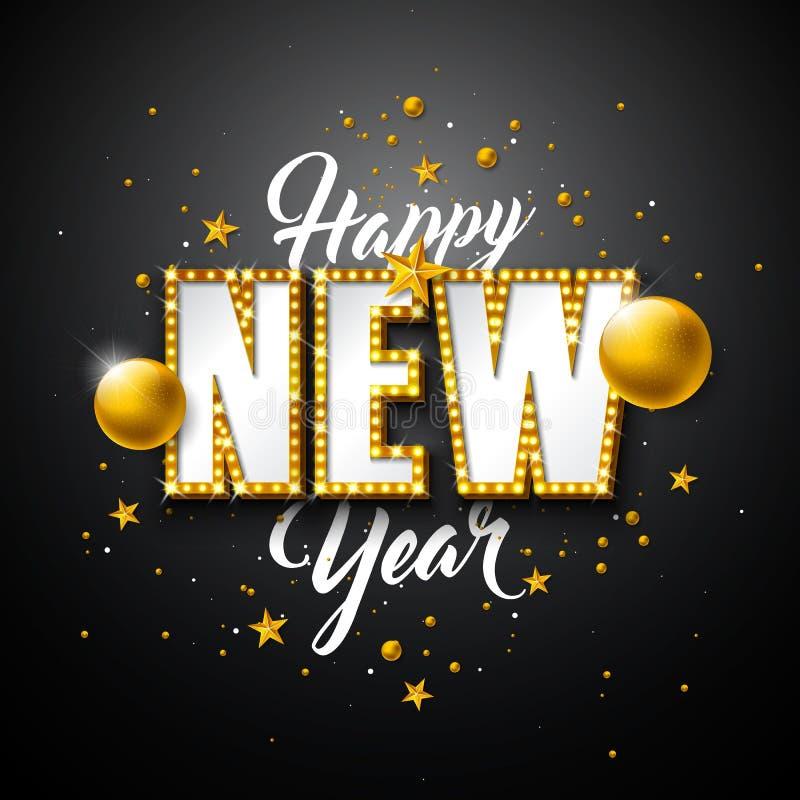 Bola ejemplo de la Feliz Año Nuevo 2019 con las letras de la tipografía 3d, y de la Navidad en fondo negro Diseño del día de fies ilustración del vector